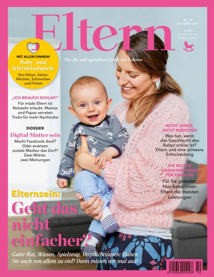 """Titelseite der Zeitschrift """"Eltern"""" mit einm Foto einer Mutter, die ihr Baby auf dem Arm hält."""