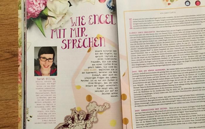 """Doppelseite des """"Engel Magazins"""" mit der Überschrift: """"Wie Engel mit mir sprechen"""""""