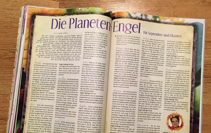 """Doppelseite mit der Überschrift: """"Die Planeten-Engel für September und Oktober"""""""