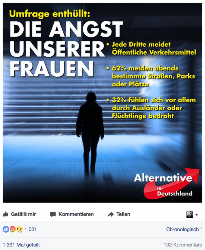 """Facebook-Posting des AfD-Politikers Björn Höcke vom 7.2.2017: Auf einem Foto ist eine Frau zu sehen in einer düsteren Unterführung, Überschrift: """"Umfrage enthüllt: Die Angst unserer Frauen""""."""