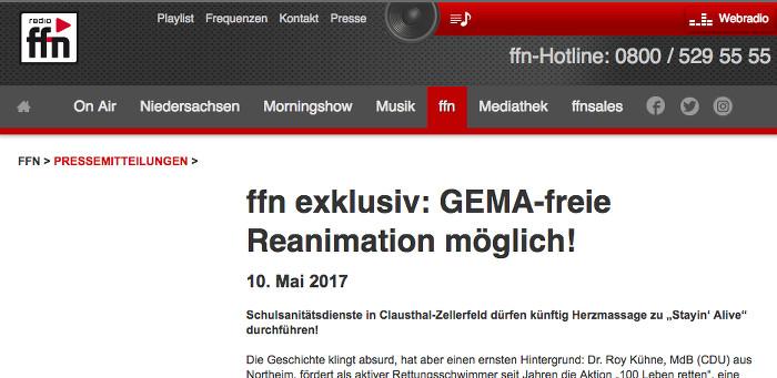 """Exklusivmeldung des Radiosenders ffn, Schlagzeile: """"ffn exklusiv: GEMA-freie Reanimation möglich"""""""