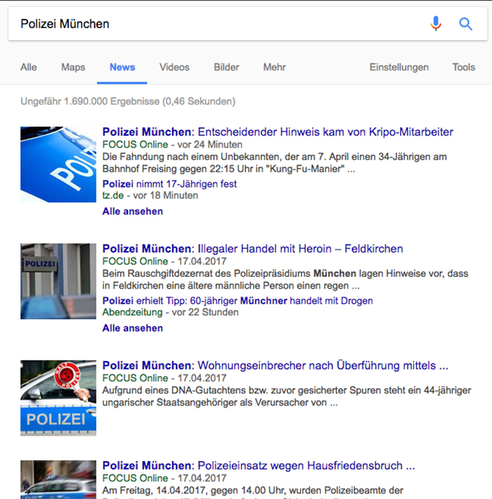 """Treffer bei Google News zum Suchwort """"Polizei München"""". """"Focus Online"""" ist hier meistens als erster Treffer gelistet, oft vor den Lokalzeitungen."""