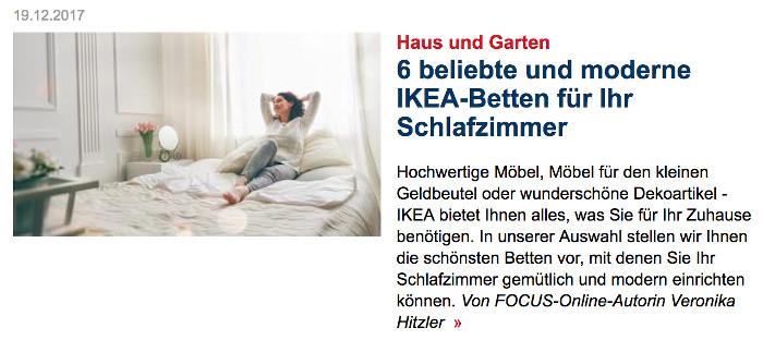 """Foto von einer Frau, die auf eine Bett liegt, Überschrift: """"6 beliebte und moderne IKEA-Betten für Ihr Schlafzimmer"""""""