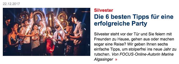 """Foto von Menschen, die Silvester feiern, Überschrift: """"Die 6 besten Tipps für eine erfolgreiche Party"""""""