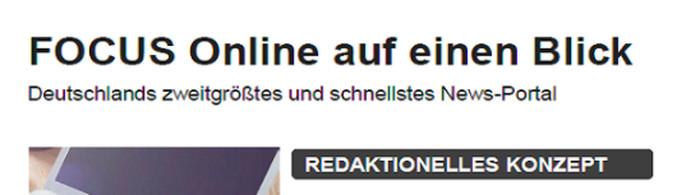 """Eigenwerbung """"Focus Online"""". Text: """"Focus Online auf einen Blick. Deutschlands zweitgrößtes und schnellstes News-Portal"""""""