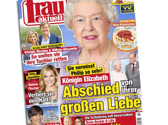 """Titelschlagzeile der """"Frau Aktuell"""": """"Sie vermisst Philip so sehr! - Königin Elizabeth - Abschied von ihrer großen Liebe"""""""