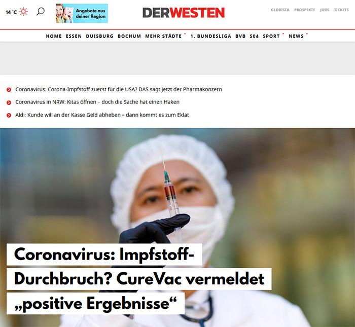 """Aufmacher auf Derwesten.de: """"Coronavirus: Impfstoff-Durchbruch? CureVac vermeldet """"positive Ergebnisse"""""""