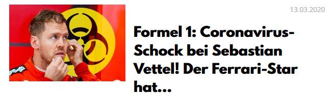 Formel 1: Coronavirus-Schock bei Sebastian Vettel! Der Ferrari-Star hat ...