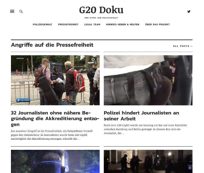 Screenshot der Seite g20-doku.org