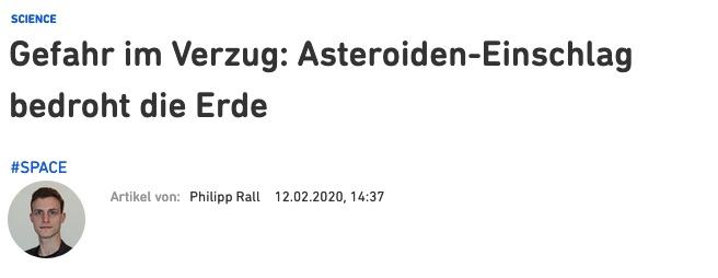 Gefahr im Verzug: Asteroiden-Einschlag bedroht die Erde