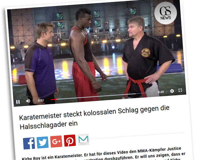 """""""Karatemeister steckt kolossalen Schlag gegen die Halsschlagader ein"""""""