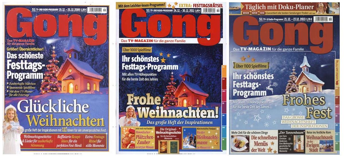 Drei ähnliche Titelblätter, auf denen immer dieselbe Kapelle zu sehen ist