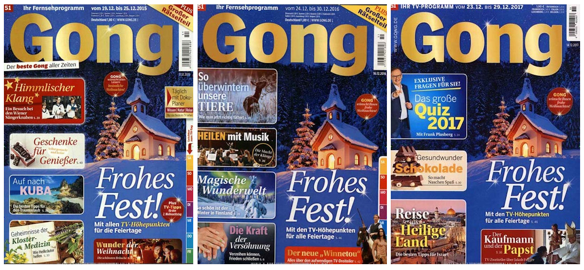 Drei fast identische Titelseiten mit derselben schneebedeckten Kapelle.