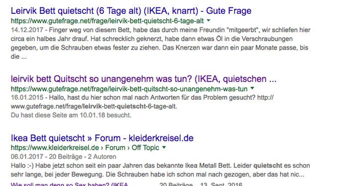 Google-Trefferliste: Verschiedene User berichten davon, dass ihr Ikea-Bett quietscht.