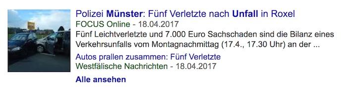 """Treffer in Google News zu der Suche """"Unfall Münster"""" – """"Focus Online"""" steht ganz oben bei den Treffern"""