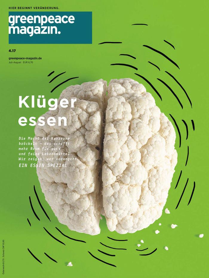 """Titel des aktuellen """"Greenpeace-Magazins"""": Zu sehen ist in der Mitte geteilter Blumenkohl, der dadurch ein wenig aussieht wie ein Gehirn, Überschrift: """"Klüger essen"""""""