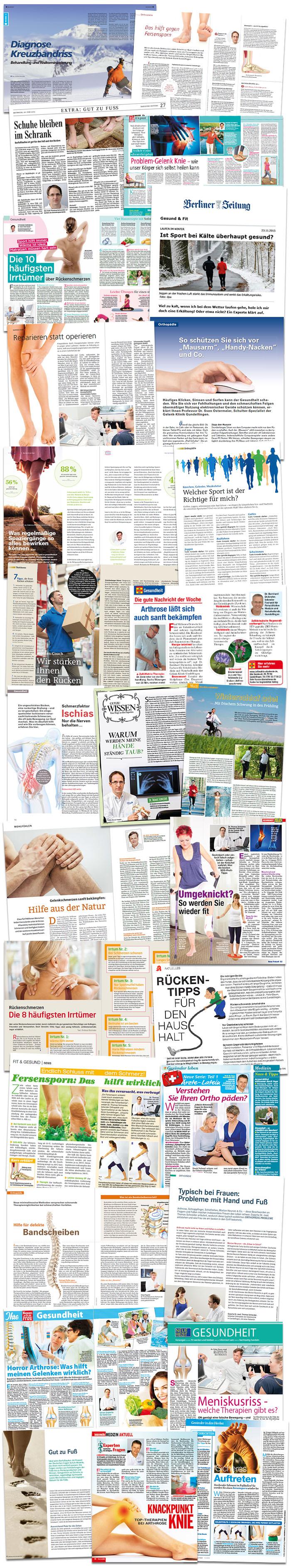 Collage aus mehreren Dutzend Zeitschriftenartikeln zum Thema Rücken, Muskeln, Gelenke & Co., in denen ein Arzt der Gelenk-Klinik Gundelfingen zu Wort kommt