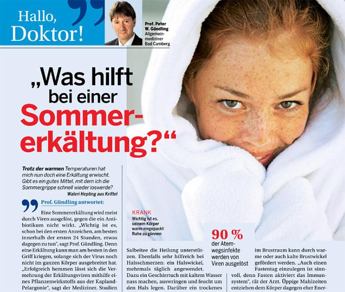 """Ausriss der Rubrik """"Hallo, Doktor!"""" Schlagzeile: """"Was hilft bei einer Sommererkältung?"""" dazu ein Foto von Prof. Peter W. Gündling, Allgemeinmediziner aus Bad Camberg"""