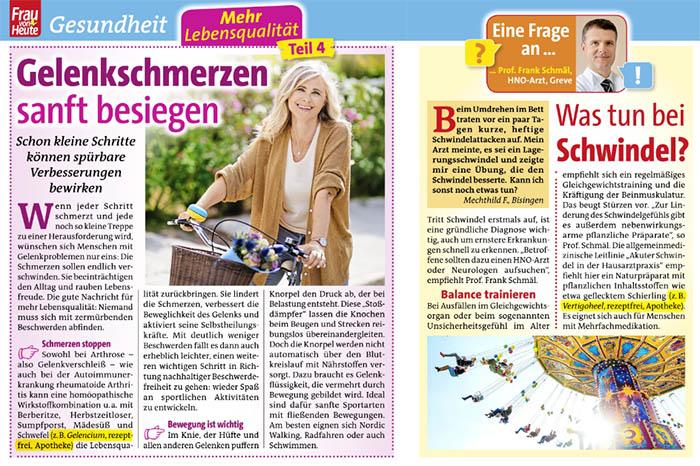 """Ausriss: """"Gelenkschmerzen sanft besiegen"""" - empfohlen wir """"z.B. Gelencium, rezeptfrei, Apotheke"""", daneben """"Eine Frage an ... Prof. Frank Schmäl, HNO-Arzt: Was tun bei Schwindel?"""", im Text wird empfohlen: """"z.B. Vertigoheel, rezeptfrei, Apotheke"""""""