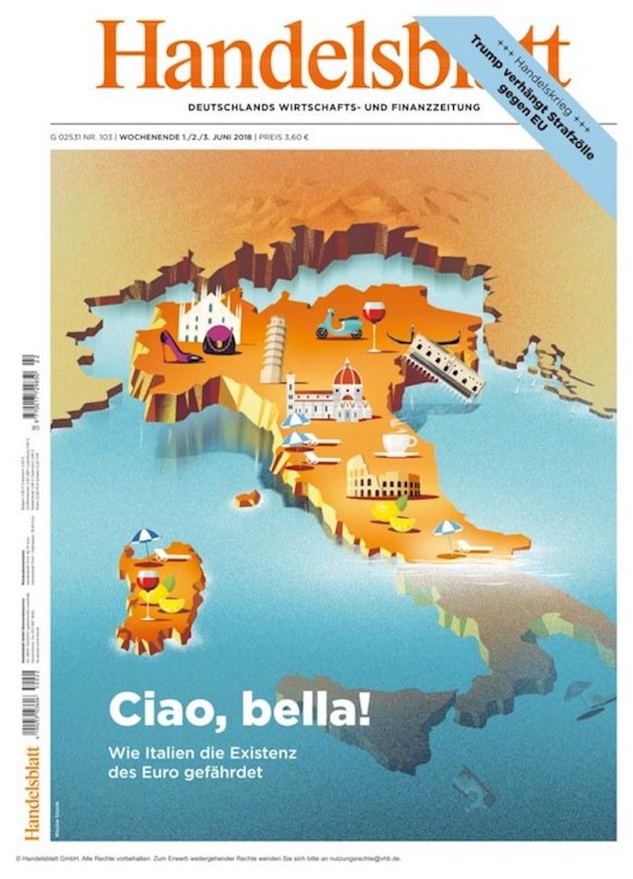 Nahaufnahme einer Landkarte, bei der Italien zur Hälfte untergeht.