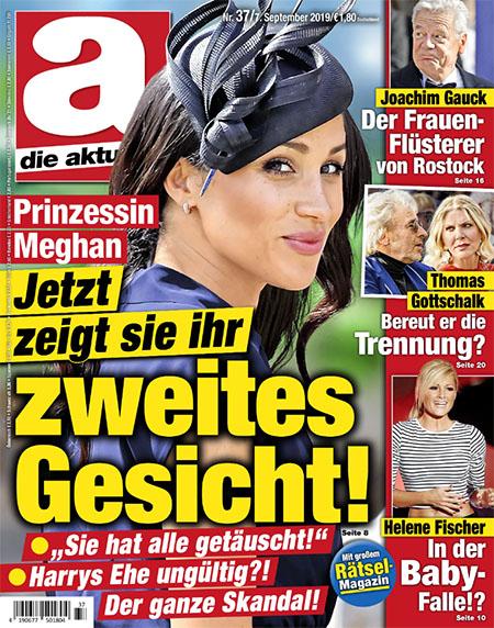 """Titelseite von """"Die Aktuelle"""": Prinzessin Meghan - Jetzt zeigt sie ihr zweites Gesicht! - """"Sie hat alle getäuscht!"""" - Harrys Ehe ungültig?! - Der ganze Skandal!"""