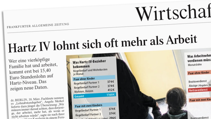 Hartz IV lohnt sich oft mehr als Arbeit. Wer eine vierköpfige Familie hat und arbeitet, kommt erst bei 15,40 Euro Stundenlohn auf Hartz-Niveau. Das zeigen neue Daten.
