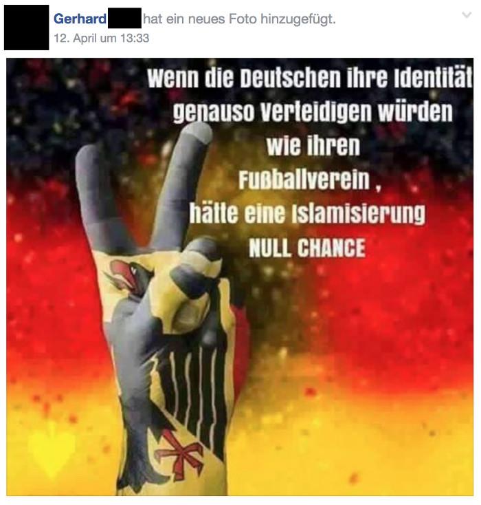 """Facebook-Post zum Anschlag auf den Mannschaftsbus des BVB. Text: """"Wenn die Deutschen ihre Identität genauso verteidigen würden wie ihren Fußballverein, hätte Islamisierung NULL CHANCE."""""""