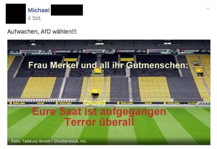 """Facebook-Post zum Anschlag auf den Mannschaftsbus des BVB. Zu sehen ist das leere BVB-Stadion von innen, Text: """"Frau Merkel und all ihre Gutmenschen: Eure Saat ist aufgegangen. Terror überall"""""""