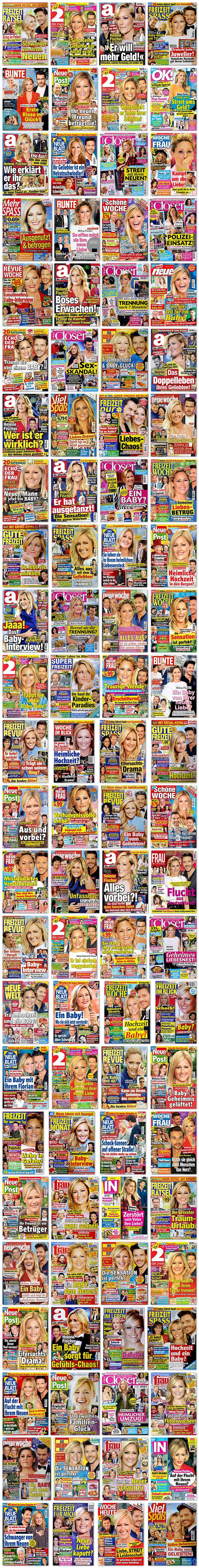 """Eine Collage aus gut 100 Zeitschriftencovern, auf denen die Titelgeschichte mit Helene und Thomas zu tun hat. Von """"Schwanger von ihrem Neuen"""" über """"Sind seine Gefühle gar nicht echt?"""" bis zu """"Ihr Geliebter ist ein Heiratsschwindler!"""""""