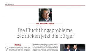 """Titel der Kolumne von Helmut Markwort mit Foto, Überschrift: """"Die Flüchtlingsprobleme bedrücken jetzt die Bürger"""""""