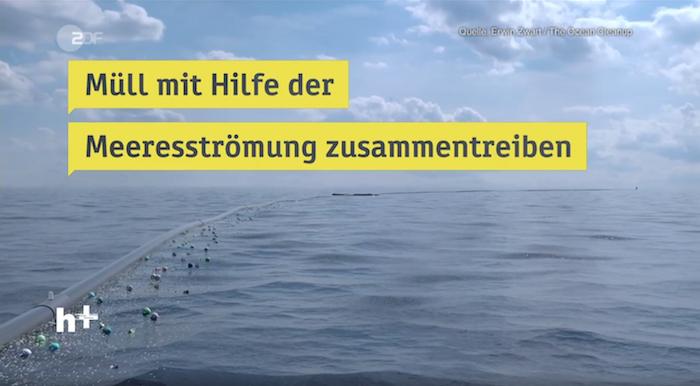 """""""heute+""""-Illustration zum Thema Müll im Meer. Zu sehen ist Meer mit eingeblendetem Text: """"Müll mit Hilfe der Meeresströmung zusammentreiben"""""""