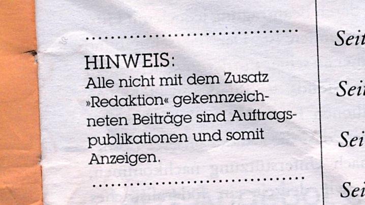 """HINWEIS: Alle nicht mit dem Zusatz """"Redaktion"""" gekennzeichneten Beiträge sind Auftragsproduktionen und somit Anzeigen."""