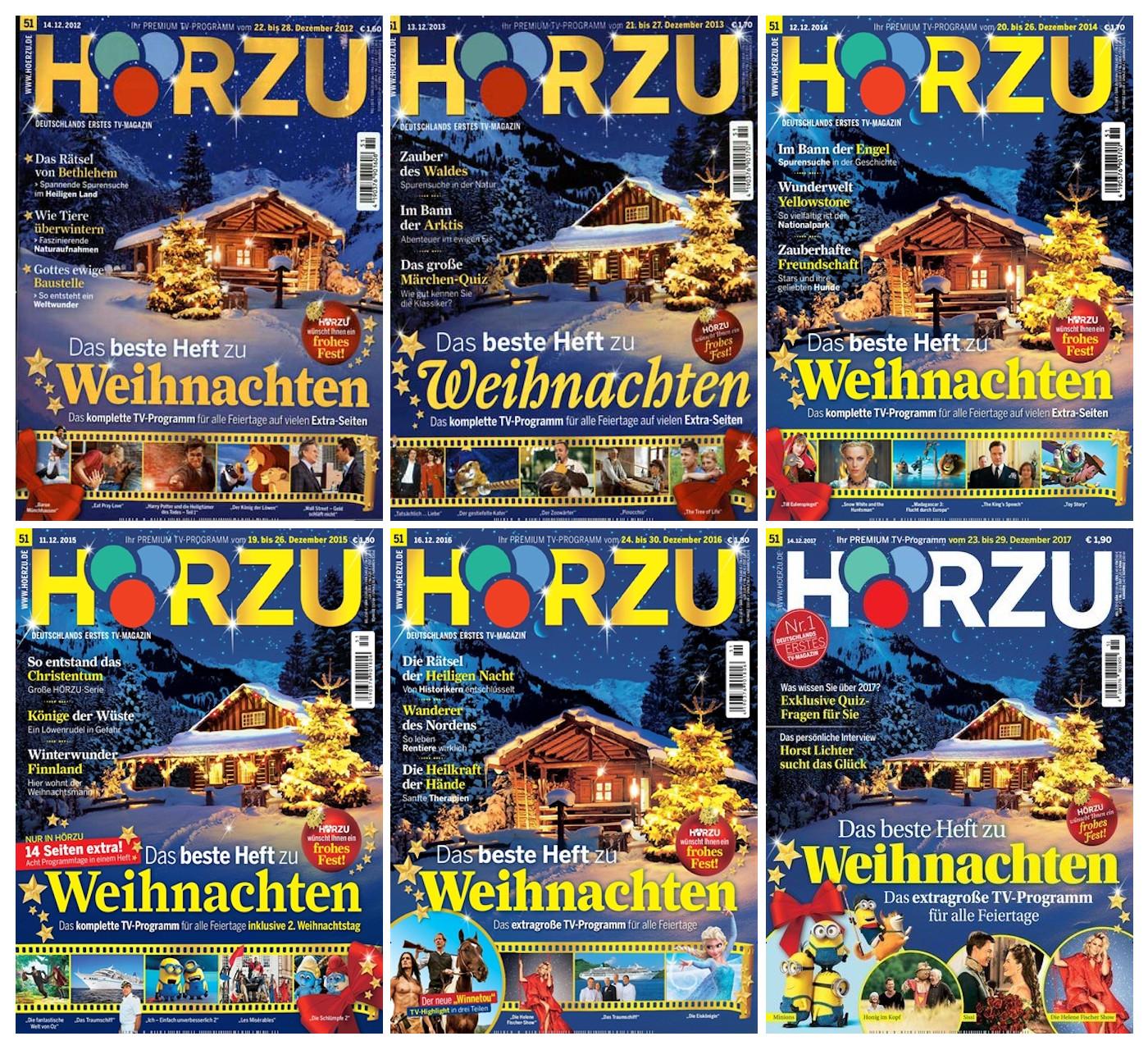 Sechs fast identische Titelseiten, auf denen abwechseld zwei Hütten in Winterlandschaft zu sehen sind.