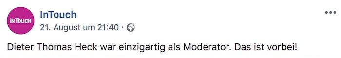 """Facebook-Zeile: """"Dieter Thomas Heck war einzigartig als Moderator. Das ist vorbei!"""""""