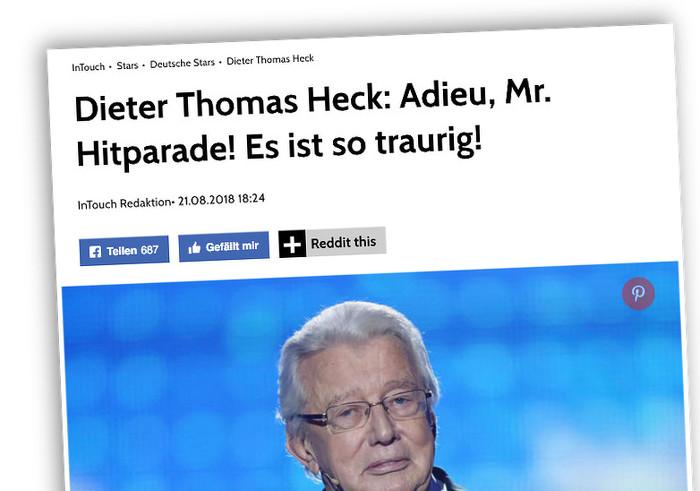 """Foto von Dieter Thomas Heck mit der Überschrift: """"Dieter Thomas Heck: Adieu, Mr. Hitparade! Es ist so traurig"""""""