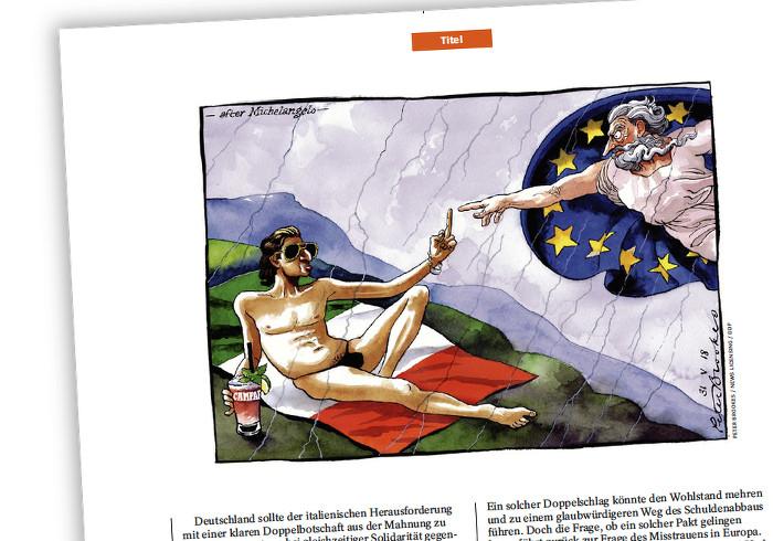 Fast nackter Mann mit Sonnenbrille und Getränk sonnt sich und reicht Europa den Stinkefinger.