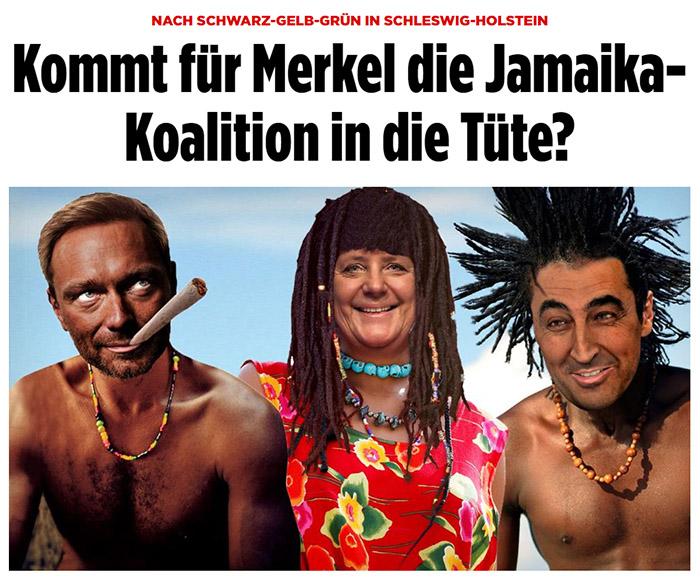 Gephotoshopptes Bild: Christian Lindner mit riesigem Joint im Mund, Angela Merkel mit Dreadlocks und Cem Özdemir mit strubbeligen Rastazöpfen