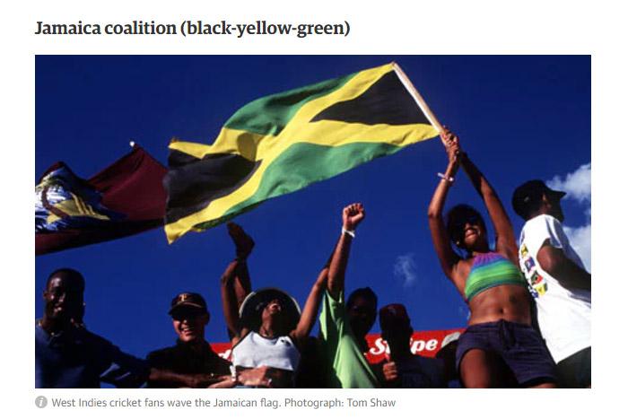 Frau schwingt eine Jamaika-Flagge