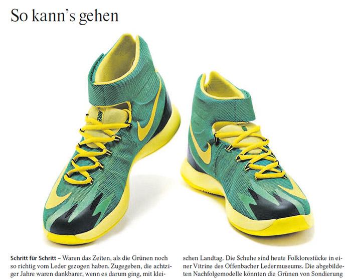 Schwarz-gelb-grüne Sportschuhe