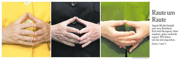 """Drei Nahaufnahmen von Merkels """"Raute"""", einmal trägt sie einen gelben Blazer, einmal einen schwarzen und einmal einen grünen"""