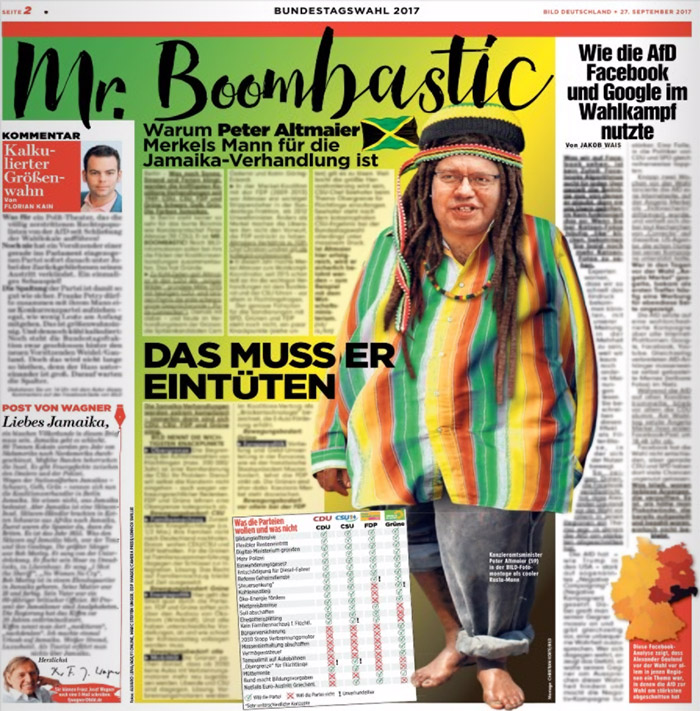 """Gephotoshopptes Bild von Peter Altmaier mit Dradlocks und bunten Klamotten, Überschrift: """"Mr. Boombastic"""""""
