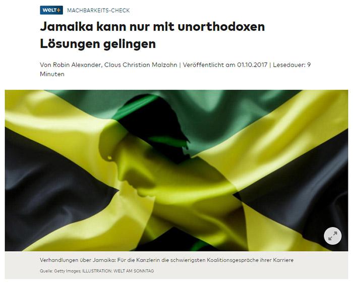 Merkels Schatten auf einer Jamaika-Flagge
