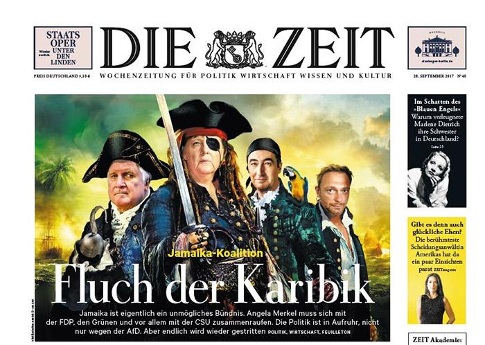 """Titelseite der """"ZEIT"""": Gephotoshopptes Bild von Seehofer, Merkel, Özdemir und Lindner als Piraten, dazu die Überschrift: """"Fluch der Karibik"""""""