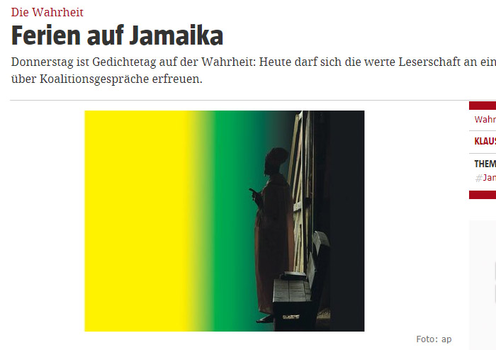 Schatten eines Mannes, im Hintergrund schwarz-gelb-grünes Licht