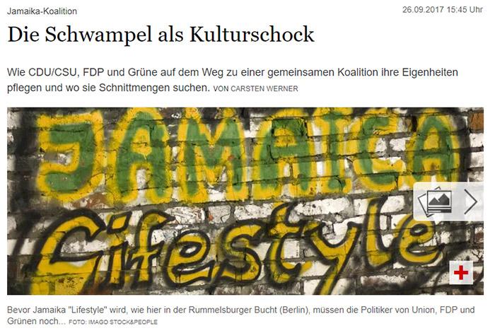 """Graffito in schwarz-gelb-grünen Farben: """"JAMAICA Lifestyle"""""""