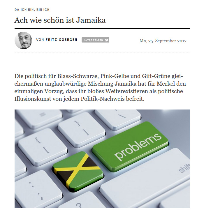 """Auf einer Computertastatur: eine Taste mit aufgedruckter jamaikanischer Flagge, daneben eine Taste mit dem Aufdruck """"problems"""""""