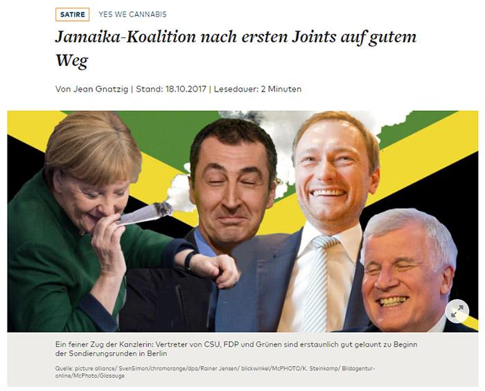 Photomontage: Merkel, Özdemir, Lindner und Seehofer lachend vor einer Jamaika-Flagge, Merkel mit einem riesigen Joint im Mund