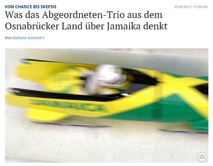 Schwarz-gelb-grüner Bob der jamaikanischen Bobmannschaft