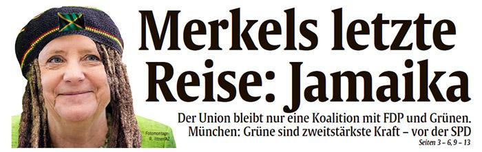 Gephotoshopptes Bild: Angela Merkel mit Dreadlocks und Jamaika-Mütze