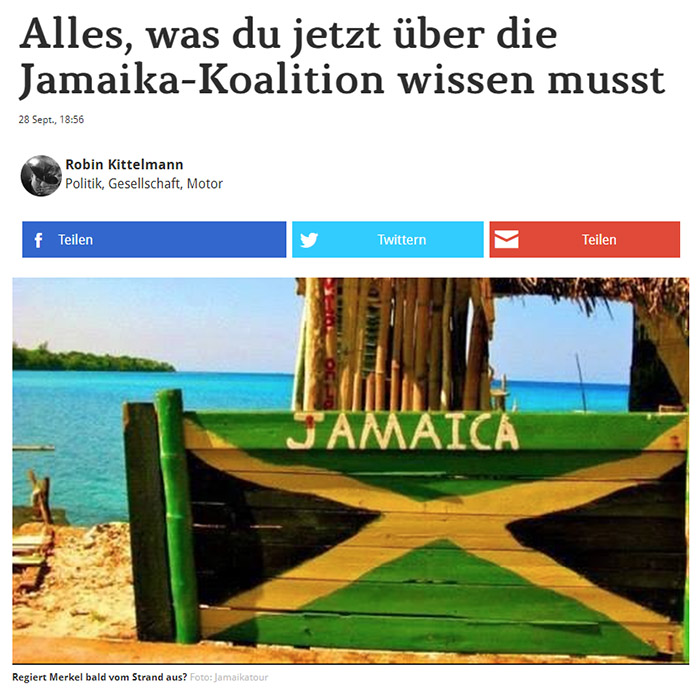 Strandbar mit aufgemalter Jamaika-Flagge